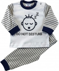 Beeren baby sleepsuit do not disturb grey/white