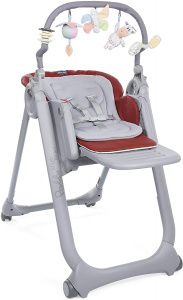 Chicco high chair Polly Magic 85-106 cm steel grey/red
