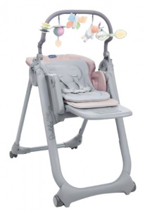 Chicco high chair Polly Magic 85-106 cm steel grey/pink
