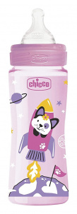 Chicco feeding bottle 330 ml polymer/silicone pink/transparent
