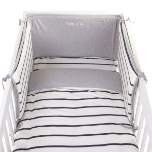 Childhome bed protection 170 x 35 cm dark blue/white/grey