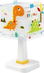 Dalber tafellamp Dinos glow in the dark 29 cm wit