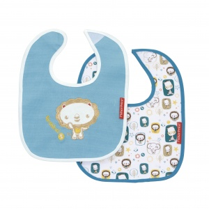 Fisher-Price bibs lion 22 x 28 cm junior blue 2 pieces