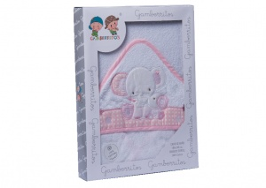 Gamberritos bath cape elephant 100 x 100 junior pink