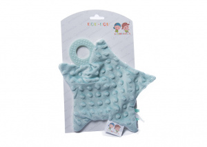 Gamberritos cuddly blanket with teething ring star 23 cm green