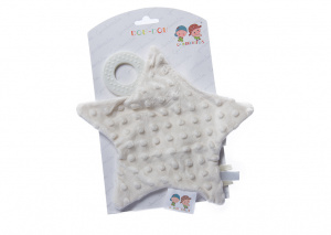 Gamberritos cuddly blanket with teething ring star 23 cm beige