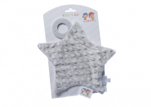 Gamberritos cuddly blanket with teething ring star 23 cm grey