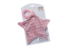 Gamberritos cuddly blanket with teething ring star 23 cm purple