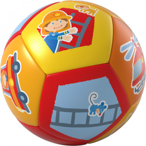 Haba baby ball pompiers junior 14 cm polyuréthane rouge/jaune