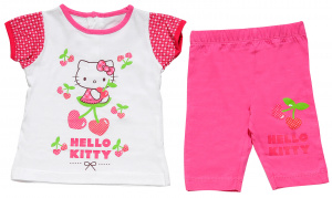 Hello Kitty kledingset Beach baby katoen fuchsia