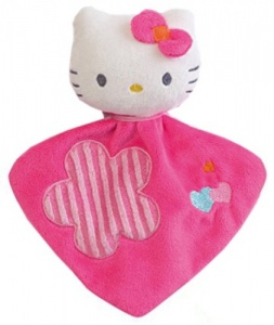 Hello Kitty Cuddle cloth with Rattle girls pink 16cm