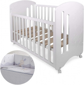 Interbaby ledikant Lovely junior 124 x 63 cm hout wit/lila