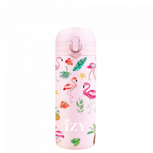 IZY thermos flask with straw flamengo 350 ml stainless steel light pink