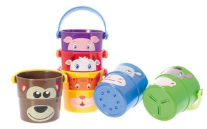 Johntoy stacking buckets with animals 3 pieces 7 cm