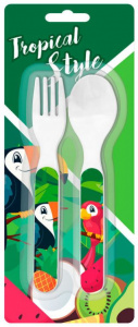 Kids Licensing cutlery set Tropical junior 12 cm white 2-piece