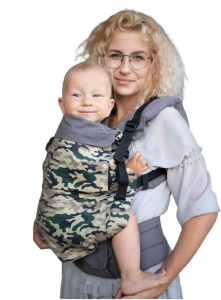 Kinder Hop babytrage Grow Air Carrier MoroPolycotton army green