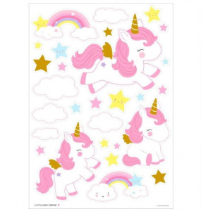 A Little Lovely Company stickers muraux licorne filles 50 cm vinyle or