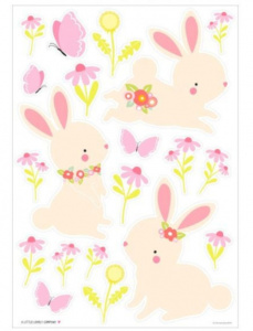 A Little Lovely Company wall stickers Rabbit junior 50 cm vinyl green/pink