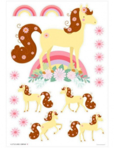 A Little Lovely Company wall stickers Horse junior 50 cm vinyl yellow/pink