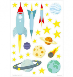 A Little Lovely Company muurstickers Space junior 50 cm vinyl geel/blauw