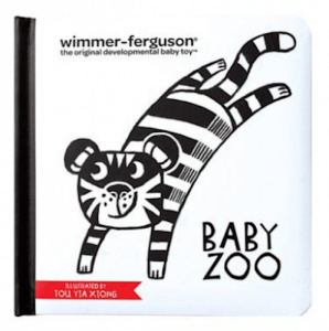 Manhattan Toy kinderboek Baby Zoo junior 15 cm textiel zwart/wit