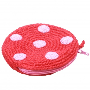 natureZOO pouch round with dots 8 cm red/pink