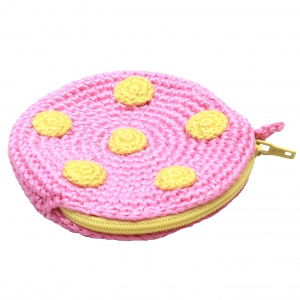 natureZOO pouch round with dots 8 cm pink/yellow