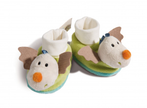 Nici baby shoes Dragon Dragilu 7 x 7,5 cm plush beige/green