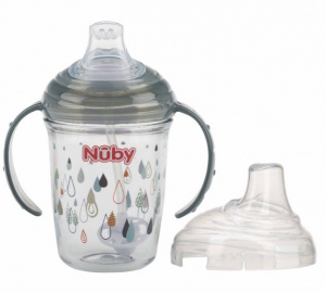 Nuby antilekbeker Tritan 240 ml junior grijs