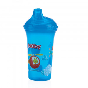 Nuby Anti-finger cup with hard spout 270ml blue