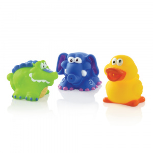 Nuby bath toys junior blue, green, yellow 3 pieces