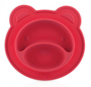 Nuby plate with suction bottom Bear junior silicone red