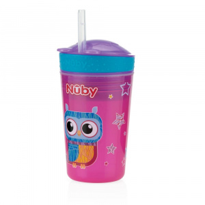 Nuby drink & snack-beker 24 cm junior 270 ml roze