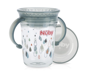Nuby Wonder cup with handles in Tritan 240ml grey 6m+