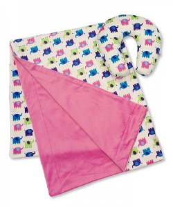 Nursery Time travel set baby blanket and neck pillow elephant 2-piece pink