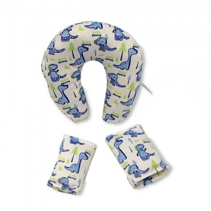 Nursery Time travel set belt covers and neck pillow dino 3-piece blue/white