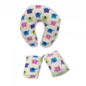 Nursery Time travel set belt covers and neck cushion elephant 3-piece white