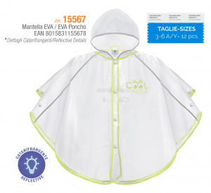 Perletti regenponcho Cool Kids 98-104 junior transparant/groen