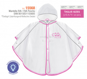 Perletti regenponcho Cool Kids junior transparant/roze maat 98-104
