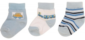 Playshoes baby socks OriginalCar 6-12 months blue 3-pack