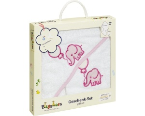 Playshoes badset in cadeauverpakking 2-delig wit/roze