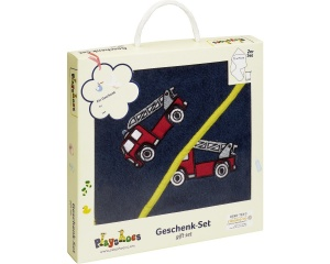 Playshoes bath set in giftbox fire brigade 2-part blue