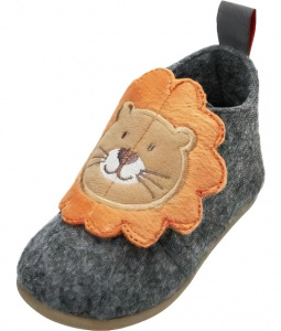 Playshoes slippers Lion junior felt/textile grey/brown