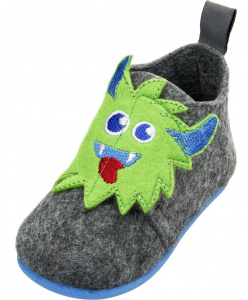 Playshoes slippers Monster junior felt grey/green