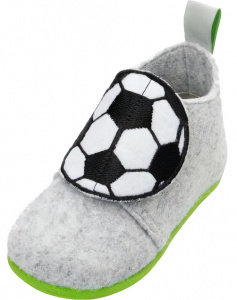 Playshoes slippers Voetbal junior felt grey/black