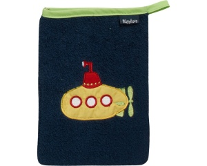 Playshoes washcloth submarine 20 cm dark blue