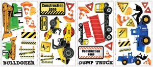 RoomMates wallstickers construction vehicles vinyl 37 pieces