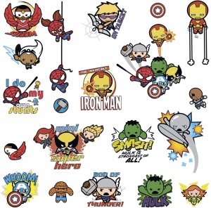 RoomMates wall stickers Marvel Kawaii Art vinyl 34 pieces