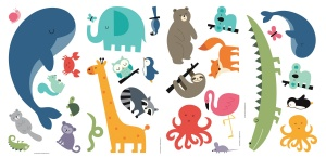 RoomMates wall stickers we are one Animal vinyl 28 pieces