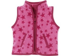 Schnizler bodywarmer Sterren fleece junior roze